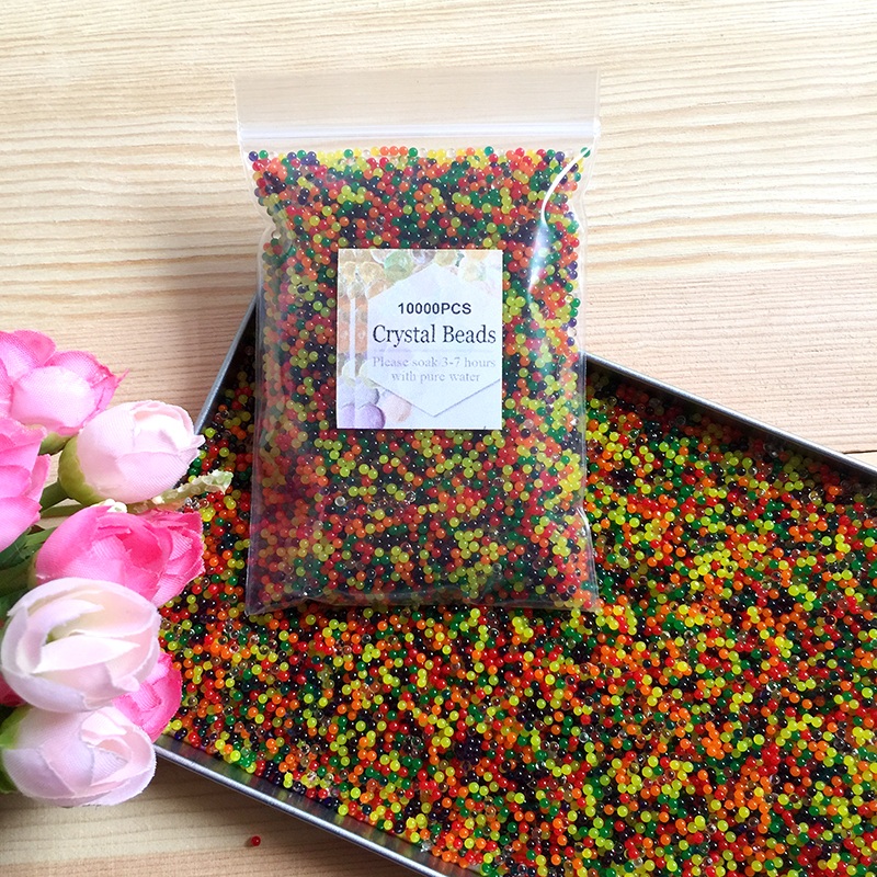 10000pcs/bag Crystal Soil Hydrogel Gel Polymer Water Beads Flower/Wedding/Decoration Maison Growing Water Balls Big Home Decor fishtail braid with hair accessory