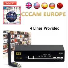 1 год CCcam Европа freesat V8 супер DVB-S2 спутниковый ресивер декодер Поддержка 1080 P Full HD powervu CCcam bisskey IPTV DLNA epg