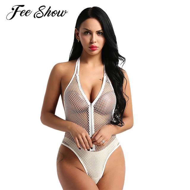 19c61677aa331 Women Lingerie Bodysuit Sexy Teddy Catsuit See Through Fishnet Mesh  Intimates Sexy Costumes Halter Neck Thong Bodysuit Nightwear