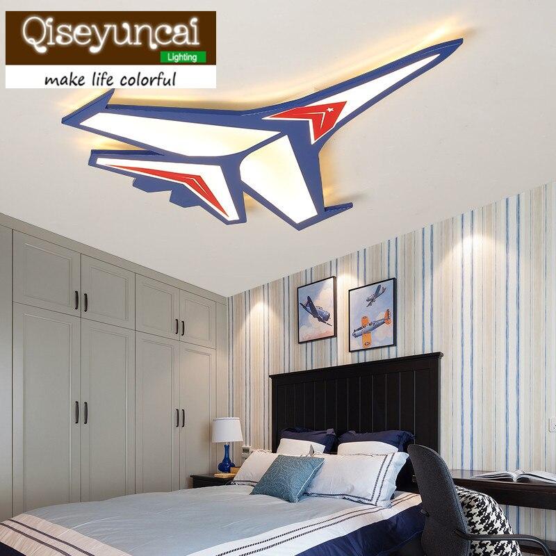 Qiseyuncai 2018 Children's room cartoon airplane blue LED eye protection acrylic ceiling lamp boy bedroom energy saving lamp