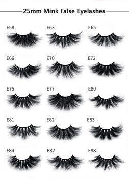 Super long 25mm mink lashes thick soft & vivid false eyelashes curly crossed messy fake lash 30pairs/lot DHL Free