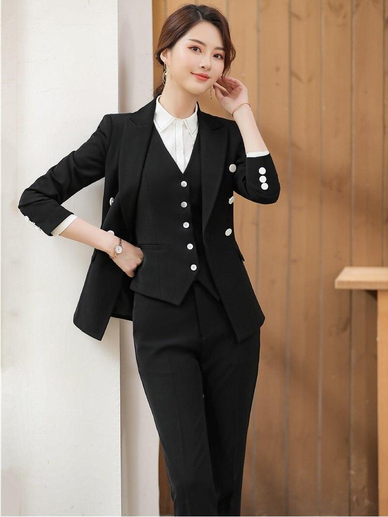 black Pantalon Blue Pièces Et Blazers Costumes Formelle Ensemble Manteau Femmes Moulant Vestes 3 apricot Styles Gilet Ol Avec Complet wAnqTFpn