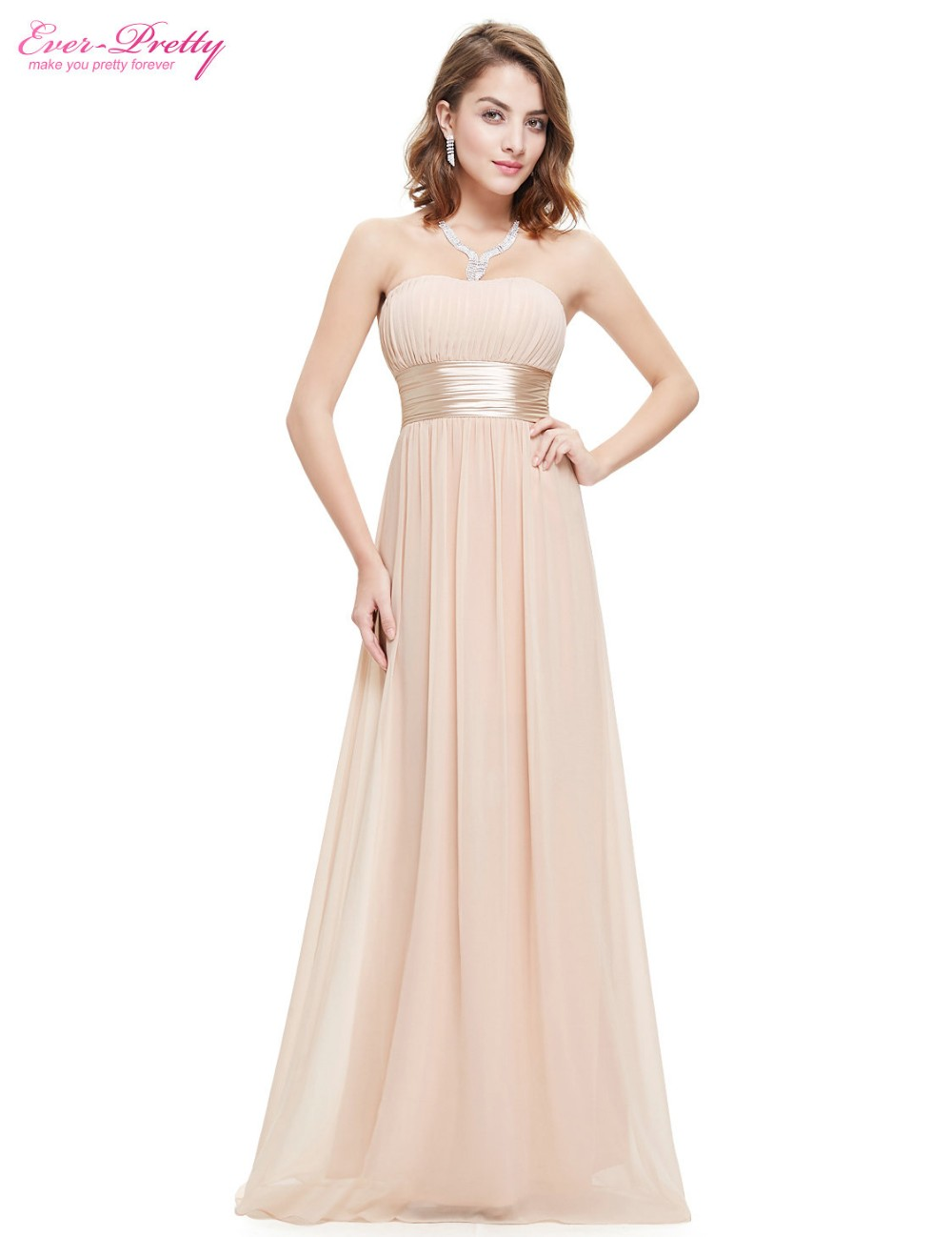 Kjole til kjole Ever Pretty EP09955 Stroppløs Ruched Bust Blå Rød Chiffon Long Evening Dresses