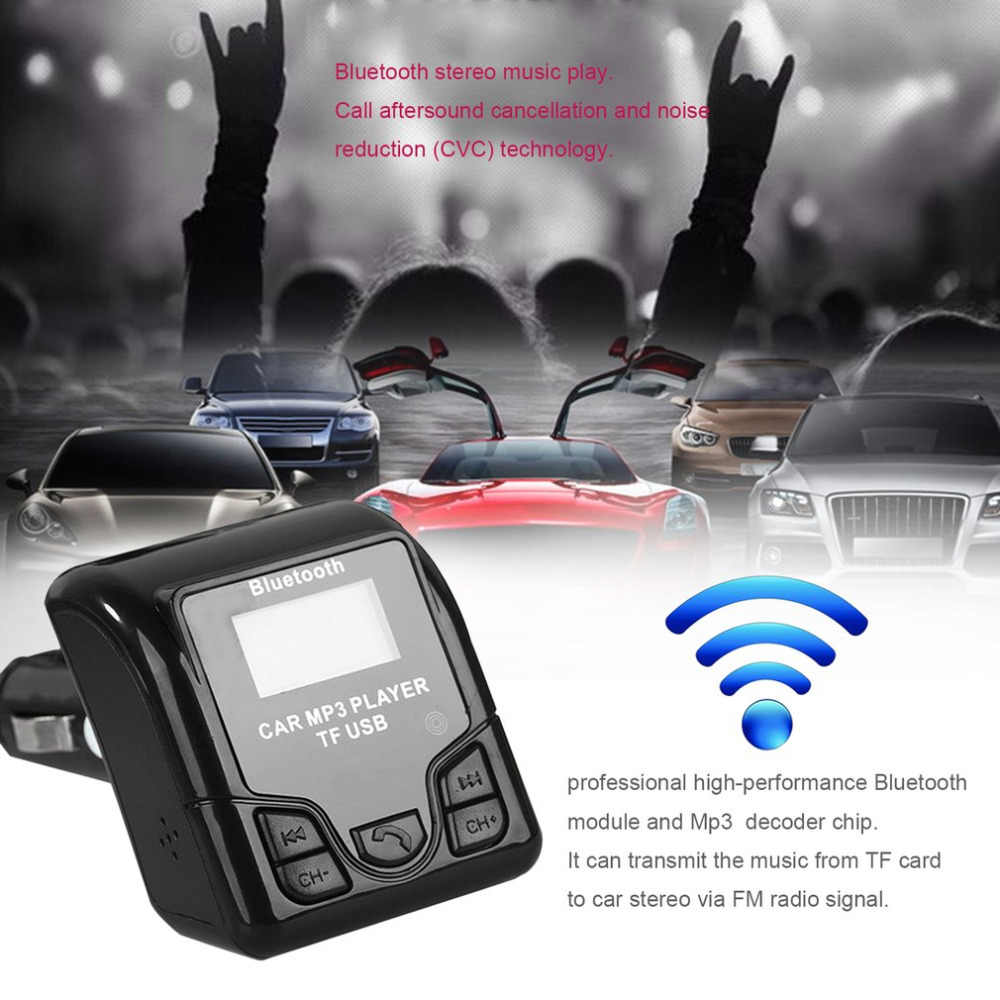 HIGH QULITY Car MP3 Audio Player FM Modulator Bluetooth Handsfree Wireless with USB Charger LCD Display for Phones
