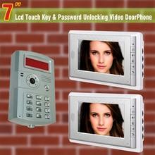 7″ LCD intercom video door phone doorbell Unlocking ID Password video doorphone intercom doorbell 1 Camera 1 to 2 Monitor