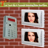 """7 """"LCD interkom wideo telefon drzwi dzwonek do drzwi odblokowanie blokady simlock z telefonu ID hasło wideofon domofon 1 kamera 1 do 2 monitorów w Wideodomofony od Bezpieczeństwo i ochrona na"""