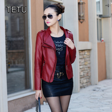 Women Faux Leather Jacket High Quality PU Autumn Outerwear Black/Wine Red/Blue/Slim Coat  QY003