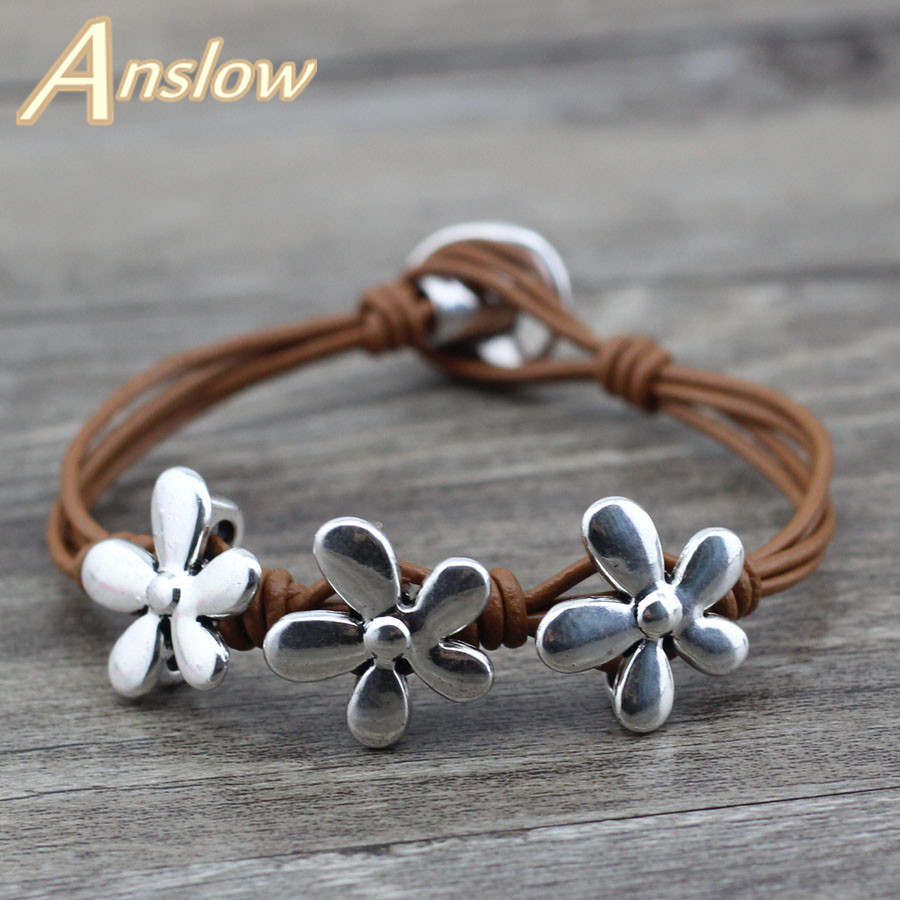 Anslow Fashion Jewelry 2017 New Love Best Friend Friendship Vintage Flowers Leather Bracelet For Women Christmas Gift LOW0616LB