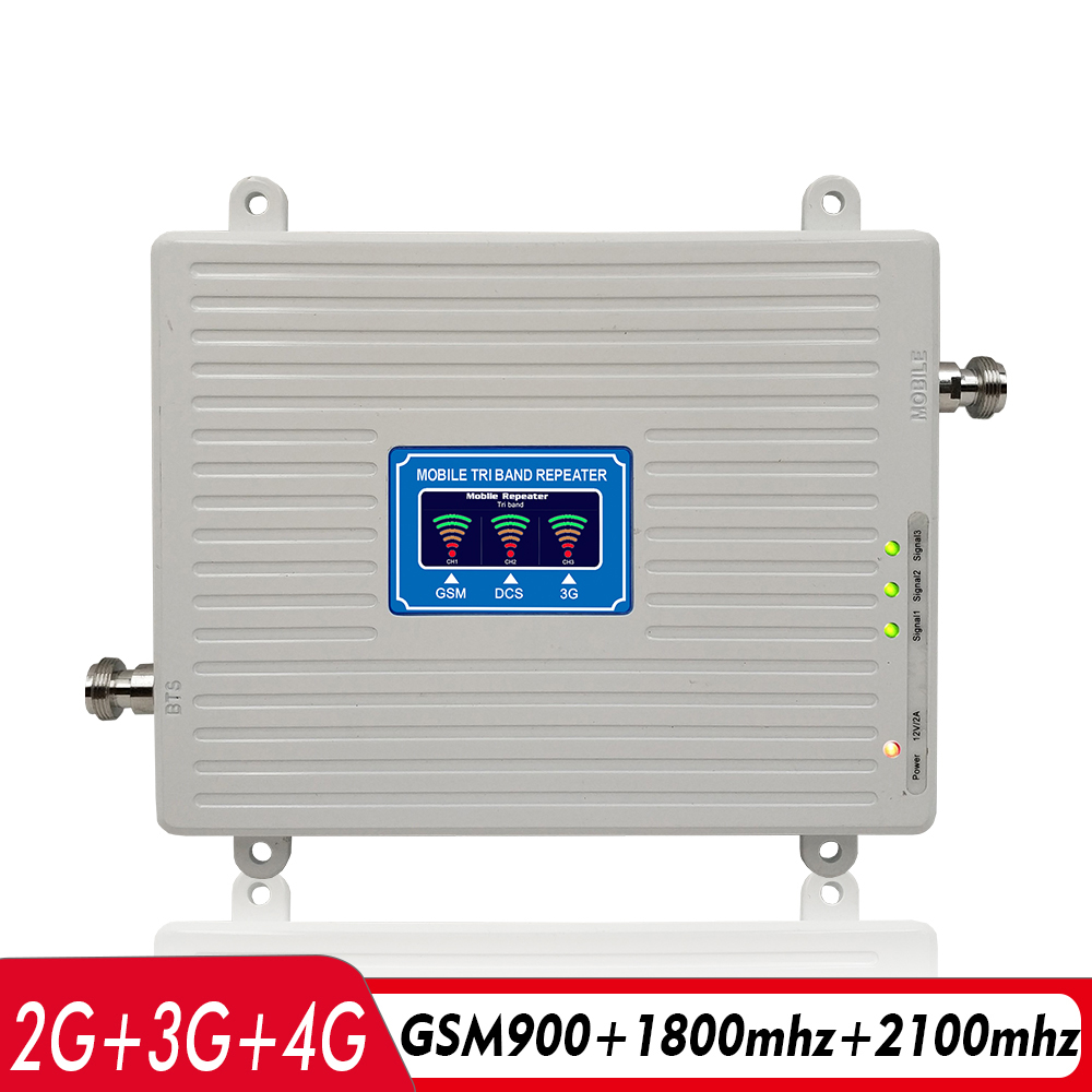 2G 3G 4G Tri Band Signal Booster GSM 900+DCS/LTE 1800+WCDMA/UMTS 2100 Cell Phone Signal Repeater 900 1800 2100 Signal Amplifier2G 3G 4G Tri Band Signal Booster GSM 900+DCS/LTE 1800+WCDMA/UMTS 2100 Cell Phone Signal Repeater 900 1800 2100 Signal Amplifier