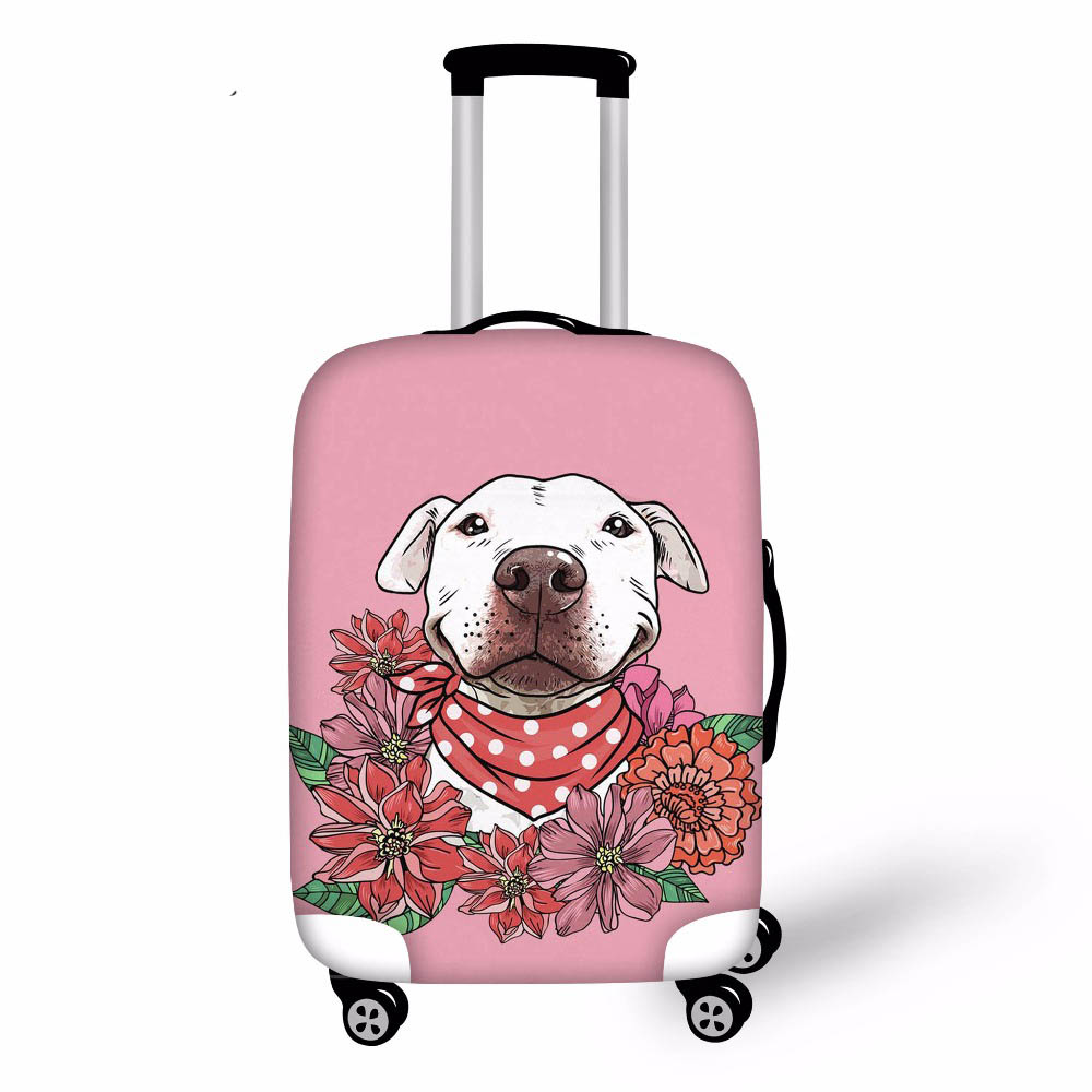 Floral Pit Bull Elastic Fabric Luggage Protective Cover Suitable Trolley Case Suitcase Dust Cover Travel Accessories