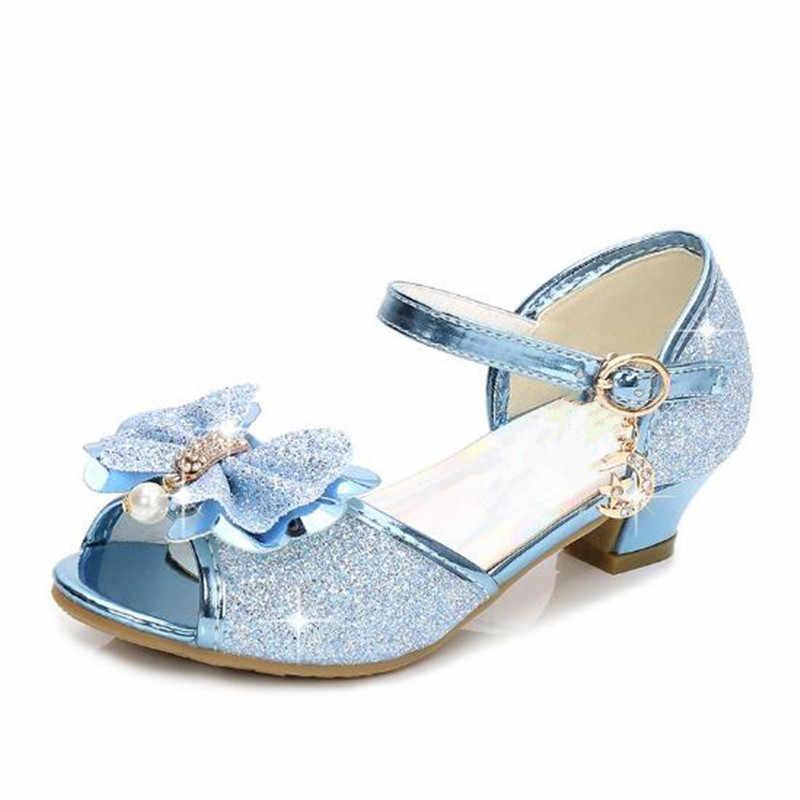 ... Princess Girls Dress Sandals High Heel Glitter Summer Wedding Sandal  For Children Fish Mouth Bowknot Rhinestone ... 0f702c87a0a0