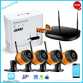 New 4CH KIT Kit NVR P2P Plug and Play Sem Fio WI-FI 720 P HD Visão Nocturna do IR Ao Ar Livre WI-FI Câmera de Segurança IP WIF NVR CCTV sistema