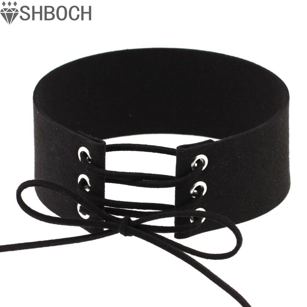 Lace up choker black velvet choker necklace women gothic chokers 2016 neck boho jewelry harajuku big
