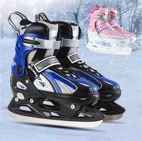 [Chaussures de Patins À glace] Inline Patins À Glace Chaussures pour le Patinage De Glace, 4 Taille Réglable, pour Adulte Enfant Enfants Homme Femme, Fun en Hiver