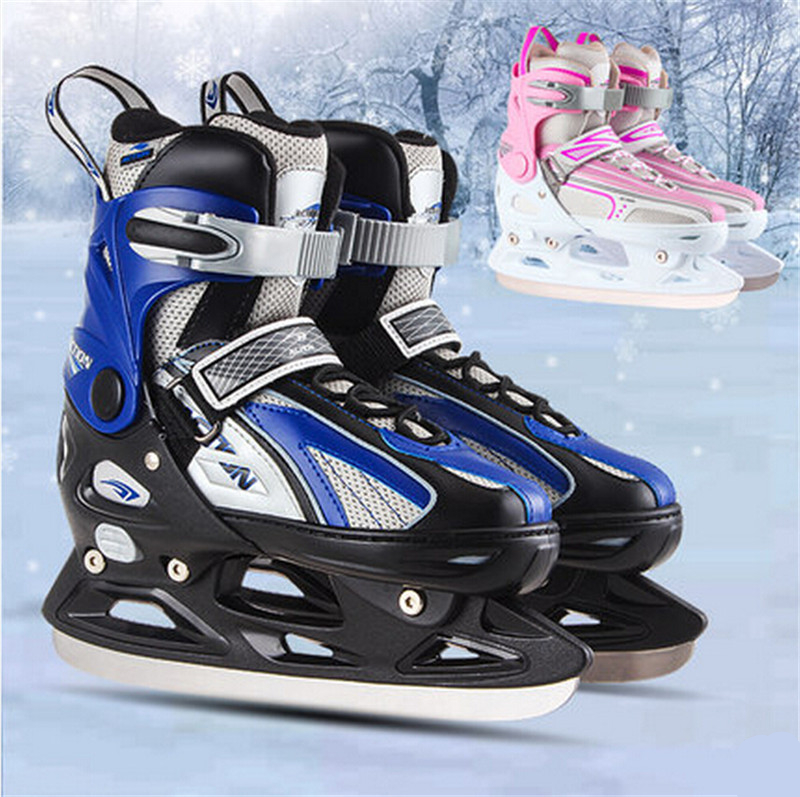 [ Ice Skate Shoes] Inline Ice Skates Shoes for Ice Skating, 4 Size Adjustable, for Adult Kid Children Man Woman, Fun in Winter bauer vapor rh x50r inline skates 4 jr