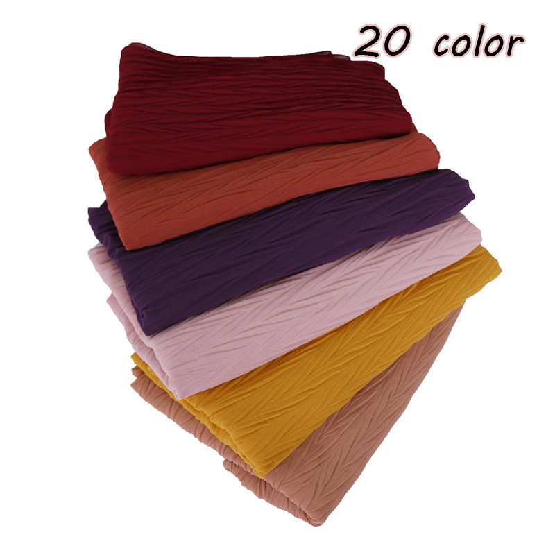 Women s plain wrinkle bubble chiffon hijab scarf pleat Solid color long scarves headband turban maxi