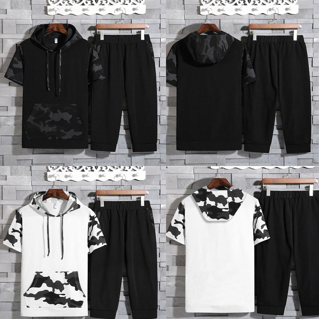Décontracté hommes ensemble Camouflage imprimé ensemble sweat hauts pantalon à capuche manches courtes haut pantalon ensemble T605
