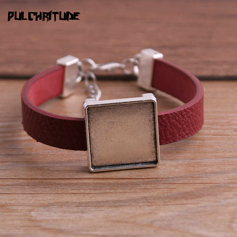 1 pièces bracelets en polyuréthane Base réglage manchette plateaux vierges brasero ajustement 20mm verre camée dôme carré Cabochon bracelet à bricoler soi-même fabrication de bijoux P6713