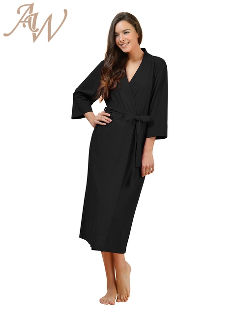 Cotton Robes Soft Kimono Robe Long Knit Bathrobe Nightwear Lightweight  Loungewear Nightdress V-neck Sexy Sleepwear for women 7710cb58e