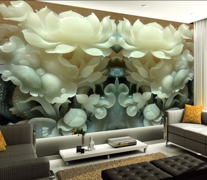 3D stereo HD Customized jade carving flowers wallpaper mural living room unique Chinese style wall covering hallway screen