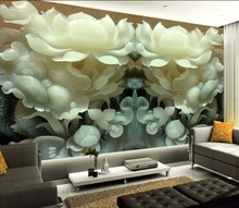 лучшая цена 3D stereo HD Customized jade carving flowers wallpaper mural living room unique Chinese style wall covering hallway screen mural