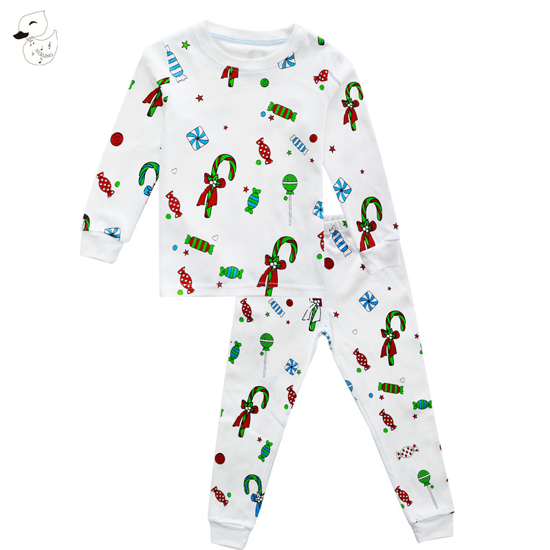 BINIDUCKLING Autumn Children Sleepwear Pajama Sets Candy Printed t-shirt+pants Set Boys girls Children's Clothing sets Christmas plus size christmas candy printed dress