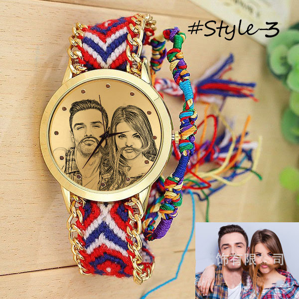 Amxiu Custom Photo Watch Accessories Personalized Handmade Braided Rope Adjustable Watchband Quartz Watch For Women Lovers Gifts 11
