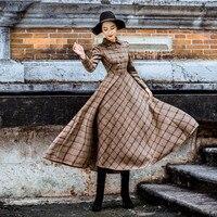 d2f5394683 Vintage Plaid Wool Dress Women Winter 2019 Thicken Warm Elegant Stylish  Ladies Skinny Retro Long Party. Rocznika Kratę Sukienka Z Wełny Kobiety ...