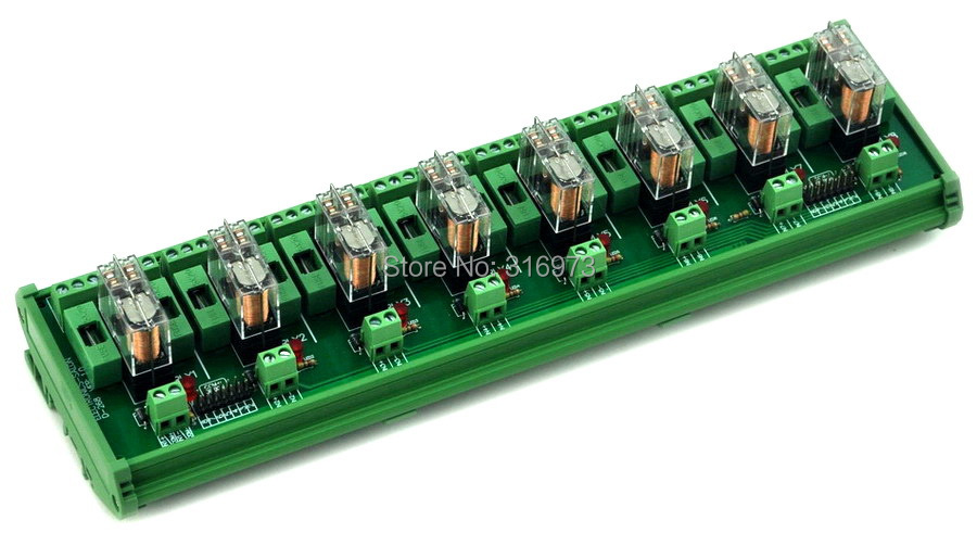 DIN Rail Mount Fused 8 DPDT 5A Power Relay Interface Module G2R 2 5V DC Relay