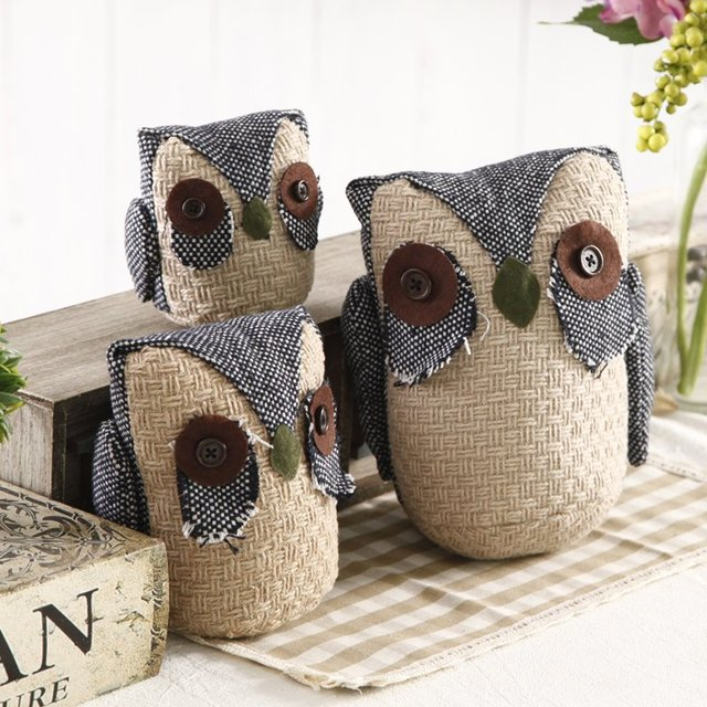 3PCS/LOT Cloth Art Jute Owl Figurine Furnishing Articles Handmade Sandbags  Strigiformes Wedding Home Decor