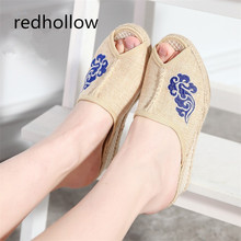 Ethnic Sandals Slip On Peep Toe Women Sandals Slippers Summer Casual Shoes Vintage Linen Canvas Platform Wedge Sandals Female lakeshi summer women sandals leather slip on women shoes fashion soft bottom mother sandals wedge sandals peep toe female shoes
