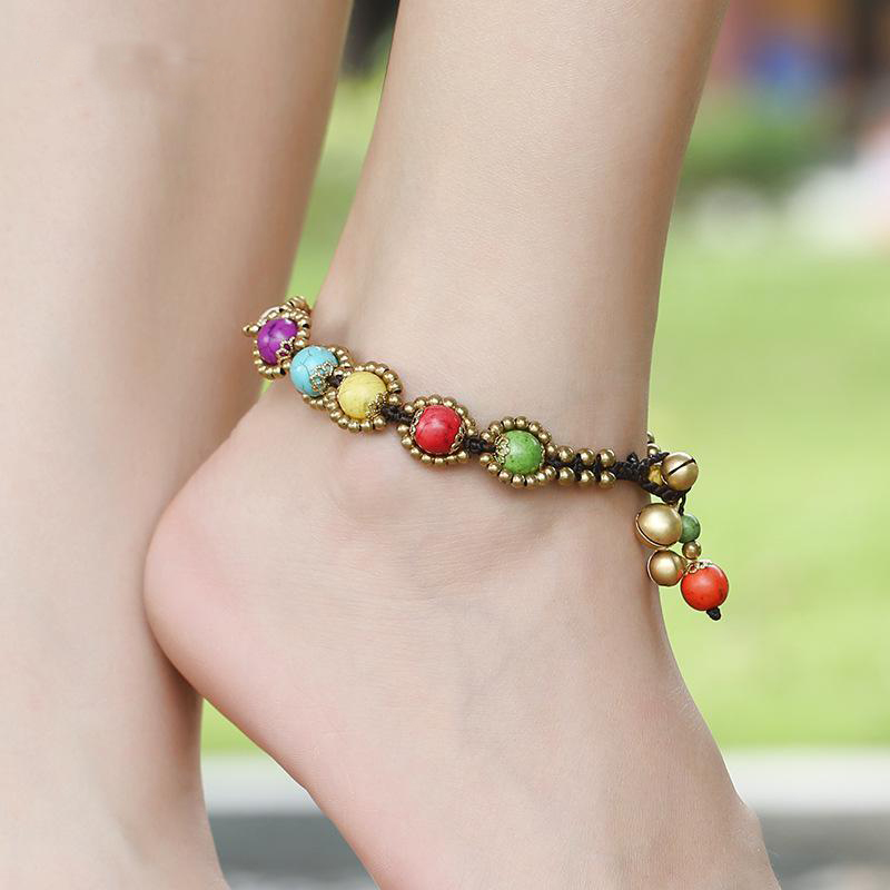 Bohemian Style Anklets Braided Rope Red Beads Blue Stone Charm Anklets for Women Beach Barefoot Sandals Foot Jewelry