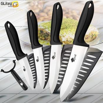Ceramic Knife 3 4 5 6 inch Kitchen Chef Utility Slicer Paring Ceramic Knives Peeler Set White Zirconia Blade Cooking Cutter Tool