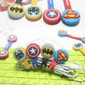 2PCS/LOT Captain America's shield/Superman/Batman/spider man's Cable Drop Clip Desk Tidy Organiser Wire Cord USB Charger Holder
