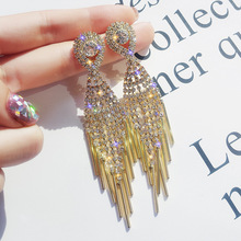 Fashion exaggerated earrings long  tassle drop jewelry luxury korean crystal gifts for women