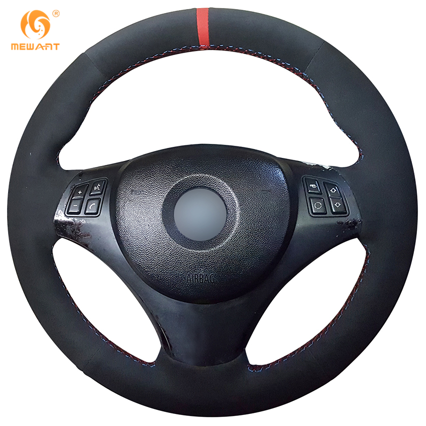 MEWANT Black Suede Car Steering Wheel Cover for BMW E90 320i 325i 330i 335i E87 120i 130i 120d runba ice silk steering wheel cover sets with red thread