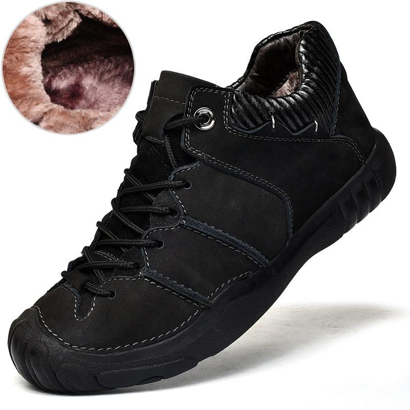 Mingpinstyle 2018 החורף חדש גברים של לגפר נעלי פנאי להתחמם כותנה נעלי החלקה גברים פרה עור נעליים