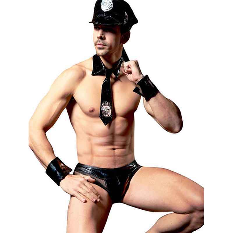 4 Pieces <font><b>Sexy</b></font> Men Costume XL Roleplay Police Men Faux Leather Lingerie Costume <font><b>Halloween</b></font> Erotic Police Suit Tie Panties Hat Set image