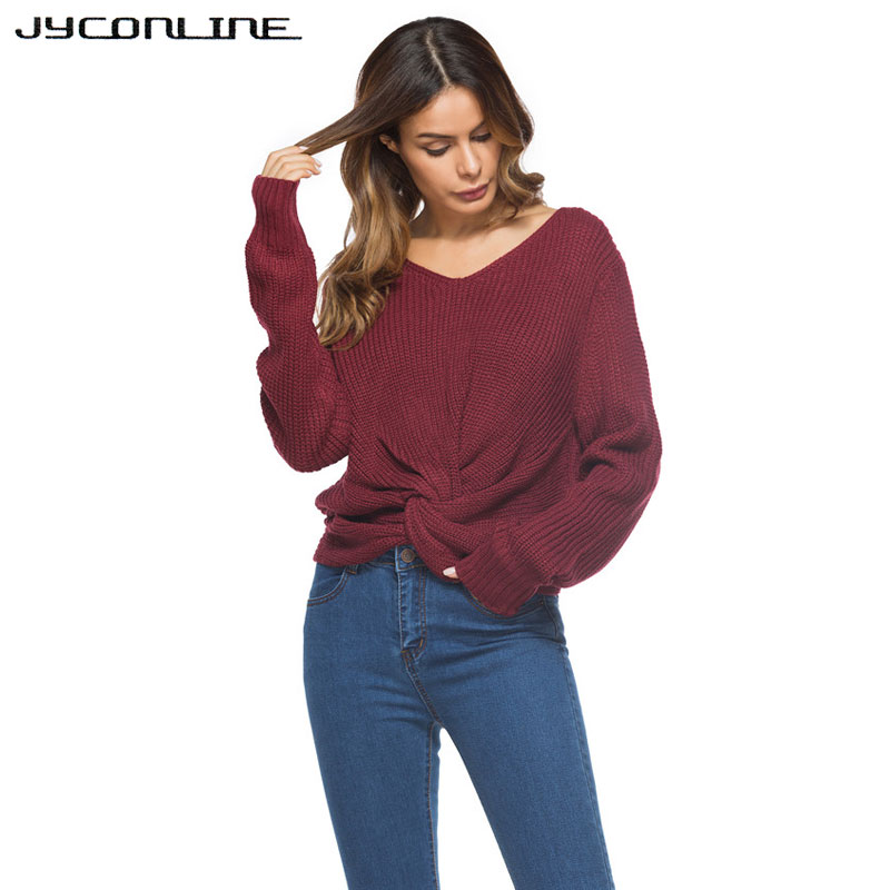 JYConline V Neck Cross Knitting Sweater Women Pullover Female Autumn Winter Christmas Women Sweaters And Pullovers Casual Jumper