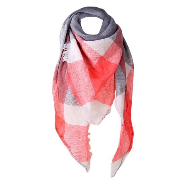Women Plaid Scarf Autumn Imitation Cashmere Plaid Scarves Ladies Casual Patchwork Shawl Bufandas Femininas 9