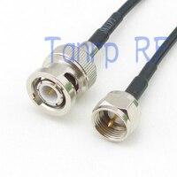 20in 50 CM Pigtail jumper de cabo coaxial RG174 cabo de extensão BNC plugue macho para F plugue macho RF adapter connector