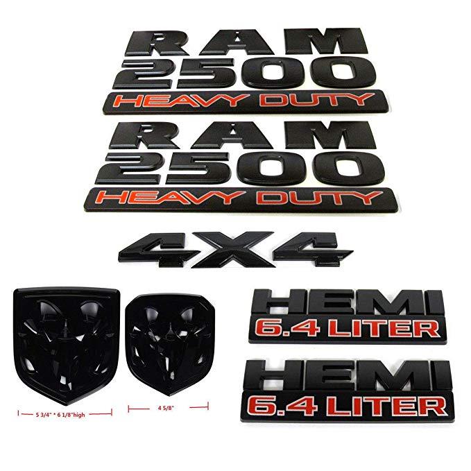 1 set OEM RAM 2500 4X4 Grille hayon 6.4 litre HEMI emblème Badges noir mat