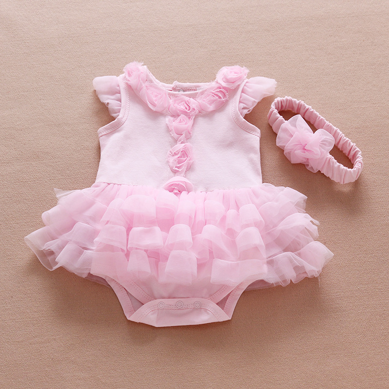 Ruffle Sleeve Girls Dress Summer Infant Flowers Birthday Party Dress Princess Girl Clothing Set Jumpsuit & Headband Baby Dresses