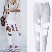 дешево!  Повседневные джинсы с высокой талией для женщин 2019 Летние рваные джинсы для женщин Джинсовые джинс