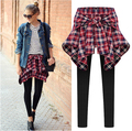Spring New 2016 Fashion Women Summer Fake Check Shirt Layered Style Skirt Blouse Trousers Leisure Casual Pencil Leggings Pants