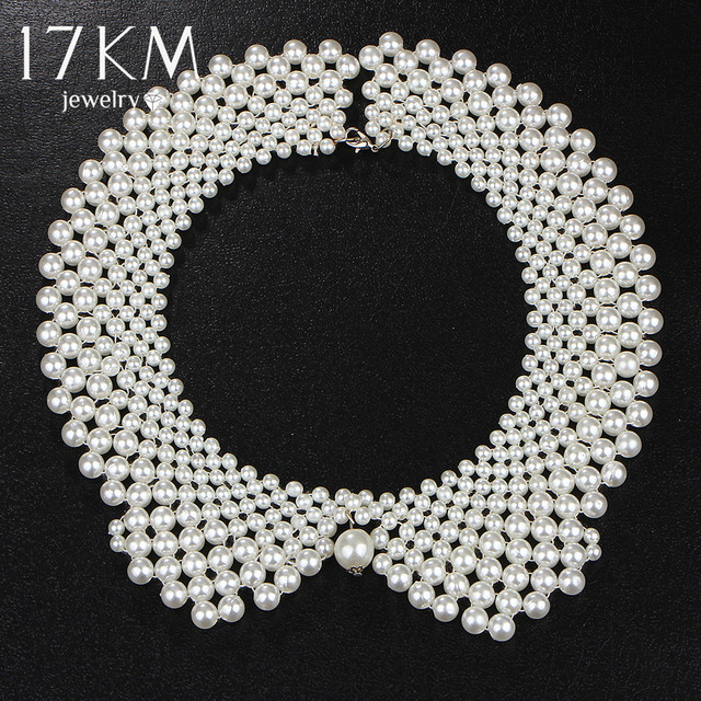17KM Handmade Simulated Pearl Collar Necklace Choker Necklace Jewelry Wholesale
