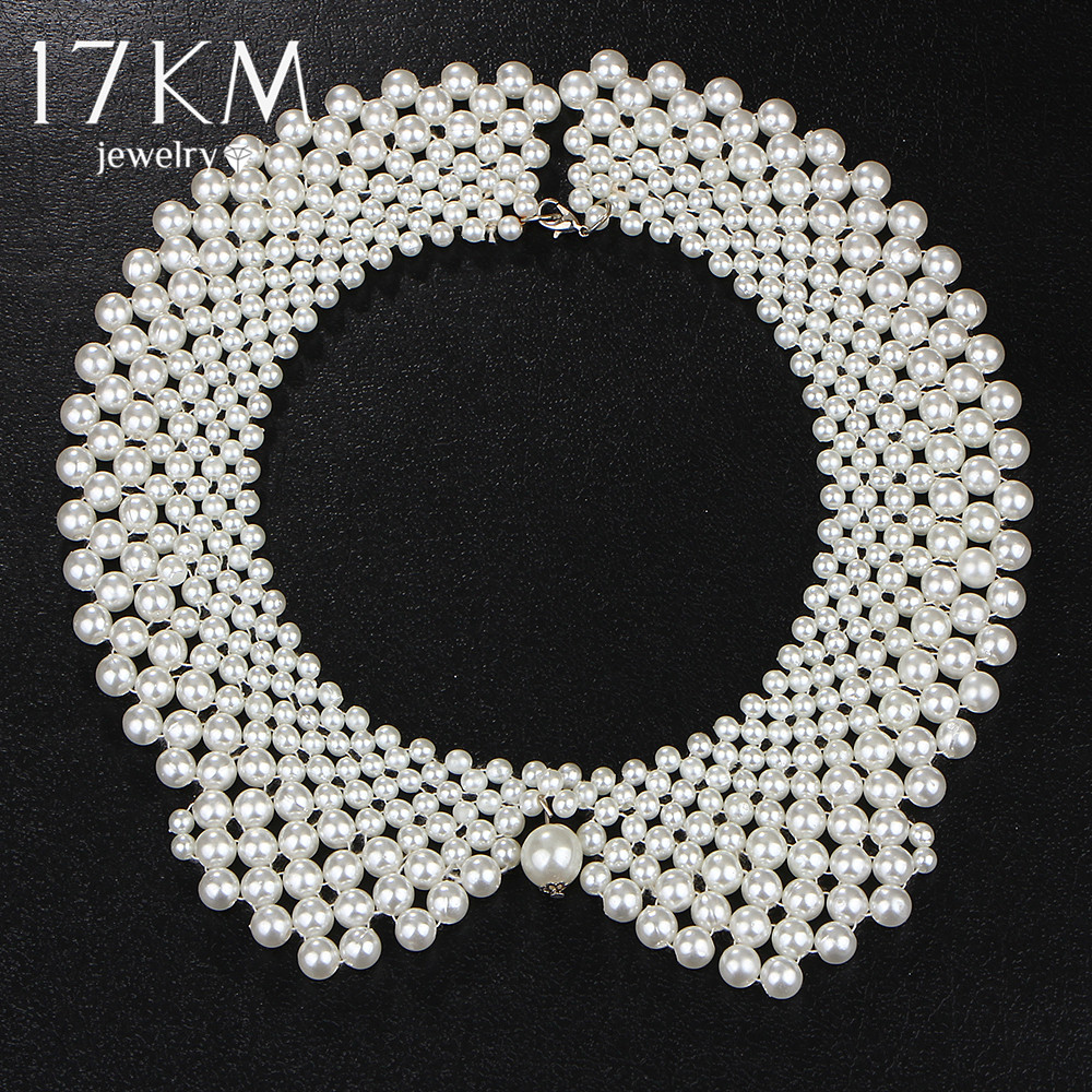 17KM Handmade Simulated Pearl Collar Necklaces