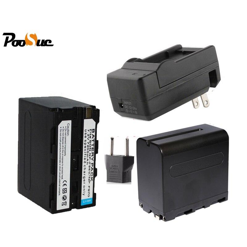 2 pièces 7200 mAh NP-F960 F970 Batterie NP F970 NP-F970 + Chargeur Pour DCR-VX2100 MVC-FD90 MVC-FD91 MVC-FD92 LED vidéo Flash lumière