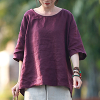 Hisenky 2018 Summer Blouse Purple Linen Tops for Women O Neck High Low Cool Ladies Blouses Pullover Short Sleeve Loose Shirts