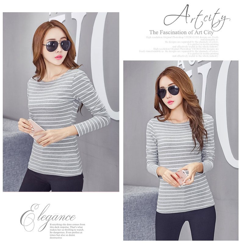 Round Neck Striped Long Sleeve Cotton Female T-Shirt
